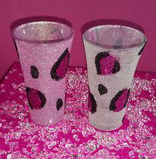 2 Blanco Rosa Leopardo Vasos de Chupito Brillo presente Boda Cumpleaños Navidad