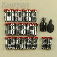 NEW M12x1.5 RED EXTENDED DUST CAP STEEL LUG NUTS WHEEL RIMS TUNER WITH LOCK
