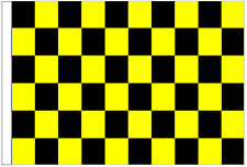Black And Yellow Check 5' x 3' Large Sleeved Flag