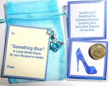 Something Blue Bridal Good Luck Heart Charm & Old Silver Sixpence for her Shoe