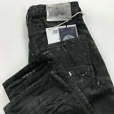$375 NWT SZ 30 PRPS DEMON SLIM FIT BLACK RESIN COATED DENIM JEANS W 3D CRINKLE