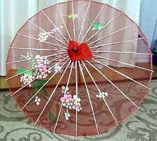 "31""dmtr Vtg Rare Red Semi Sheer Nylon Hand Painted Asian Bamboo Umbrella Parasol"