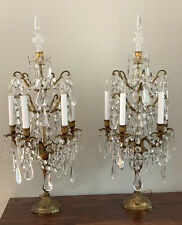 Antique Exquisite Pair French Bronze Crystal Candelabra Lamp Girandoles 32� Tall