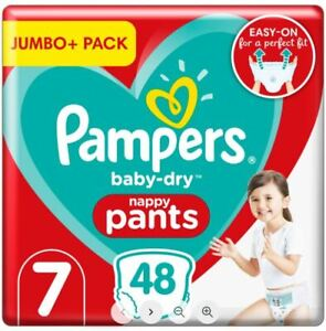 Pampers Baby-Dry Nappy Pants Size 7, 17+kg, Jumbo+ Pack 48 Pcs