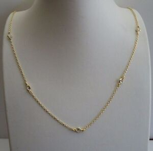 18K YELLOW GOLD OVER 925 STERLING SILVER CHAIN W/ BEZEL SET LAB DIAMONDS / 18''