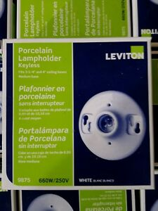 NOS LEVITON PORCELAIN LAMPHOLDER KEYLESS 660W/25V 000-9875
