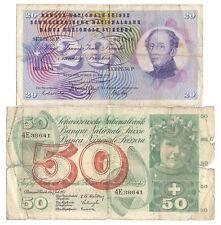 More details for 2x switzerland banknotes 50 franken 1955; 20 franken 1968 swiss suisse svizzera