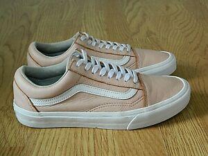 VANS Old Skool Ladies Leather Skate Trainers Pink & White Size 7 / 40.5