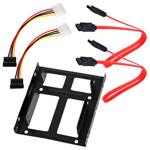 """2.5"""" Dual SSD Slot to 3.5"""" HDD Drive Mount Bracket Adapter SATA Data DC Cable"""