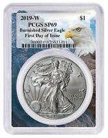 2019 W Burnished Silver Eagle PCGS SP69 - First Day Issue - Eagle Frame