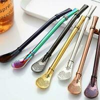 Metal Reusable Stainless Steel Strainer Spoon Drinking Straw 7 Color A1W8