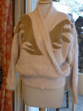 "PULL VINTAGE 80 ""Noblesse oblige"" MOHAIR ANGORA  T42-44 / ANGORA PULLOVER size L"