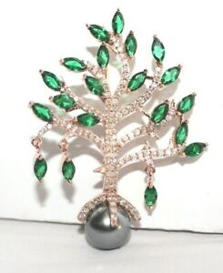 IGI Certified 2.66ct Natural Round Diamond 14K Rose Gold Emerald Pearl Brooch