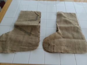 CHRISTMAS STOCKING MATERIAL, SET OF 2,BURLAP CUTOUTS FROM BAGS BUT NOT FINISHED