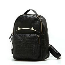 Leather PU Black Backpack Bag Gold Cat Ears Women Grils School Crocodile Mini