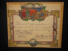 Volunteer Fireman Appointment 1787 New York City Certificate Document Fire Truck