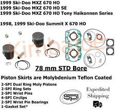 1998 1999 Ski Doo 670 HO MXZ Summit X 78 mm SPI Moly Pistons Bearings Gaskets