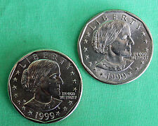 1999 P and D Susan B Anthony Small One Dollar Coins $1 SBA Copper Nickel Content