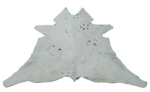 "Cowhide Rugs Calf Hide Cow Skin Rug (30""x34"") Mainly White with Dark Dot CH5180"