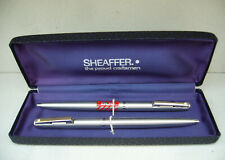 Vintage 1970s Sheaffer White Dot Twin Ballpoint Pen Set with Immaculate Case