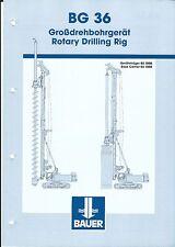 Equipment Brochure - Bauer - BG 36 - Rotary Drilling Rig - c2002 (E3438)