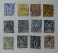 L11. Lote de 12 sellos Republique Francaise, antiguos variedad usados