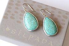 "Silpada NEW Sterling Silver Howlite ""Make a Splash"" Turquoise Earrings W3159"