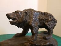 Grizzly Bear sculpture Bronze on Marble Base Artist Signed