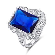 Engagement Emerald Cut Emerald & Sapphire Quartz Gemstone Silver Fashion Ring