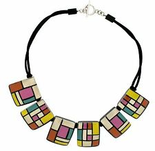 ZSISKA Homage 6 Bead Resin Necklace.  Pink/Yellow/Blue