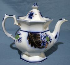Flow Blue, Gaudy Welsh, Teapot, Primary - Single Line Body Style
