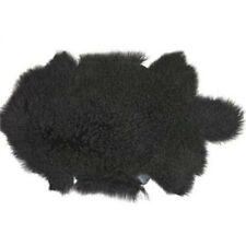 BLACK MONGOLIAN SHEEPSKIN THROW TIBETAN LAMBSKIN FUR HIDE PELT CURLY HAIR
