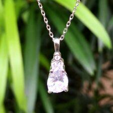 Drop White Topaz Necklace Sterling Silver 925k / White-Blue CZ Pendant & Chain