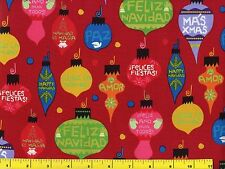Spanish Merry Christmas Tree Ornaments Quilting Fabric by Yard  #3120