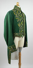 Gentlemen's Early 19th Century Green Cloth Tailcoat Beaded Trim Antique Coat