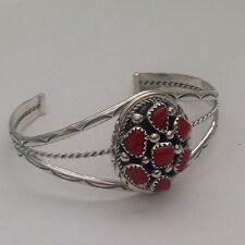 Sterling Silver Navajo Handmade 7 Coral Clustered Oval Shape Cuff Bracelet