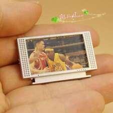 1/12Dollhouse Miniature plastic Flatscreen white TV with sports star non-working