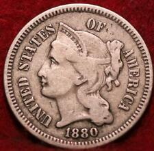 1880 Philadelphia Mint Silver Three Cent Coin