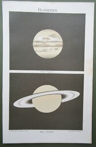 Saturn & Jupiter Planets Astronomy Chromolithograph Antique Print 1895