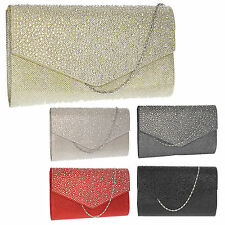Women Montary Glitter Diamante Gold Envelope Ladies Party Prom Smart Clutch Bag