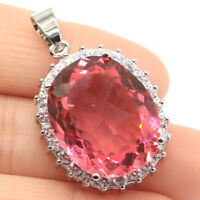 36x23mm Romantic 10g Oval Shape 22x18mm Pink Morganite CZ Woman's Silver Pendant