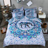 Quilt/Doona Cover Set Single/Queen/King Size Bed Duvet Covers Blue Elephant