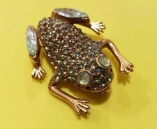 """Vintage Rhinestone Frog Brooch/Pin Signed """"Silver Starrs"""" 1 1/2"""""""