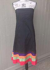 GAP Strapless Sheath Dress Midi Color block Black 100% Cotton Sz 14