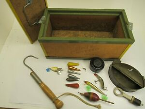 """Vintage FISHING """"BAIT CANTEEN"""" PLUS MORE LURES WEIGHTS FALLS CITY WORM CAN HOOK"""