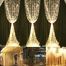 Wedding Curtain Lights 300 LED String Fairy Wall 8 Modes Waterproof Safe Pretty