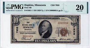 Hopkins, Minnesota  First National Bank  $10 1929 Ty. 1  CH# 7958  PMG 20