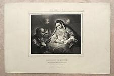 Lithographie, L'adoration des bergers, XIXème, Llanta d'après Maratti