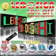 "LED Sign: 3COL-RGY/IR/2F 19""x52"" Programmable Scrolling Display Readerboard Sign"