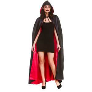 Super Deluxe Vampire Cape Mens 140cm Hooded Rove Ladies Vampiress Dracula
